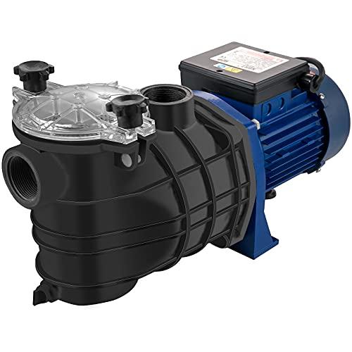 VEVOR Pompa ad Acqua a Pressione Potenza 1 HP / 750 W, Max. Portata 18000 L/H Pompa per Piscina con Cavo 1,5 m, Elettropompa Pompa Filtro Piscina velocità da 3450 RPM per Interrato e Fuori Terra