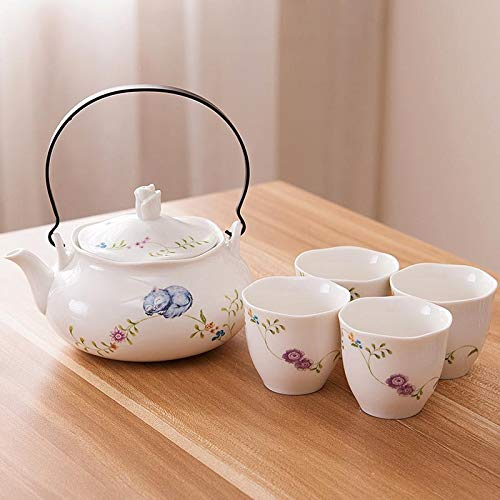 QCCOKNN Juego de té Vajilla de cerámica Vasos de cuatro tazas Una olla Flor Hervidor para té Decoración para Taza de Agua Set de té