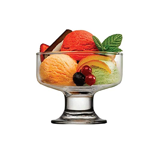 2Pcs Classic Footed Dessert Cups, Glass Dessert Bowls, Stylish Design, Safe and Non-toxic - for Parfait Fruit Salad or Pudding