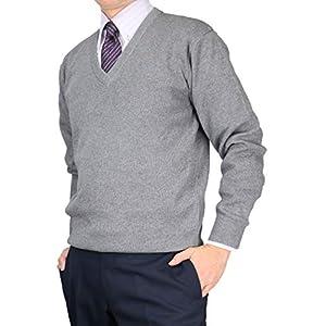 [UNITED GOLD]セーター メンズ ビジネス Vネック ニット 洗える ウォッシャブル ウォームビズ ウール混 319457 【4】グレー LL