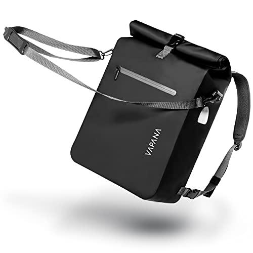 Vapana - 3in1 Fahrradtasche - wasserdicht & reflektierend für Gepäckträger - Fahrrad Rucksack & Umhängetasche mit extra Außentasche, Gepäckträgertasche - Schwarz - 27 Liter Volumen