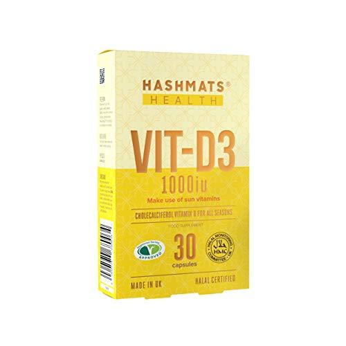 HASHMATS Health VIT-D3 1000iu (30 Capsules) | Vitamin D | 100% Halal Supplement | Vegetarian | Contributes to Healthy Bones, Teeth & Muscle Function
