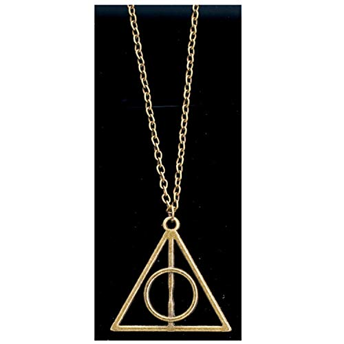 CHUYUN Antique Stainless Steel Harry Potter Deathly Hallows Triangle Pendant Necklace for Men Women (Gold)