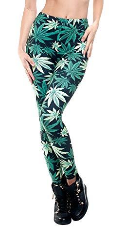 Hanessa Frauen Leggins Bedruckte Leggings Geschenk zu Weihnachten Hose Frühling Sommer Kleidung Gras Weed Dope Marihuana L84