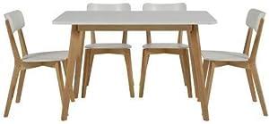 lounge-zone Tavolo da pranzo tavolo sala da pranzo tavolo da cucina tavolo tavola legno massello legno Betulla Piano tavolo Bianco 80x120cm 10610