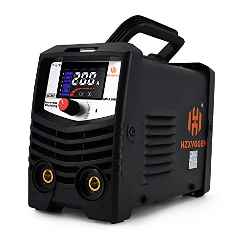 HZXVOGEN 220V 200A MMA Welder with Lift Tig Function 2 in 1 Arc Stick IGBT Digital Mini Portable Inverter Welding Machine with Electrode Holder Earth Clamp (Model: MMA200)
