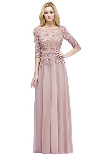 Babyonlinedress® Damen Vintage Spitzen Kleider Elegant Brautjungfer Abendkleider Abschlussballkleid Festliches, Nuderosa, 46
