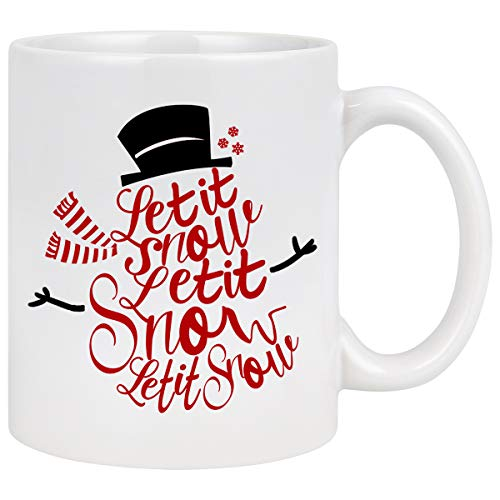 Christmas Coffee Mug with Let It Snow Snowman Shape White Ceramic Coffee Mug Cup Christmas Gifts for Family Friends 11 Ounce