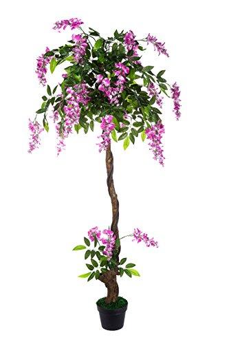 Sarah B XXL Wisteria Rosa JWT017-1 Riesige künstliche mit Echtholzstamm rosa Wisteria 160 cm hoch, Kunstpflanze, Kunstblume, Kunstbaum, Zimmerpflanze künstlich