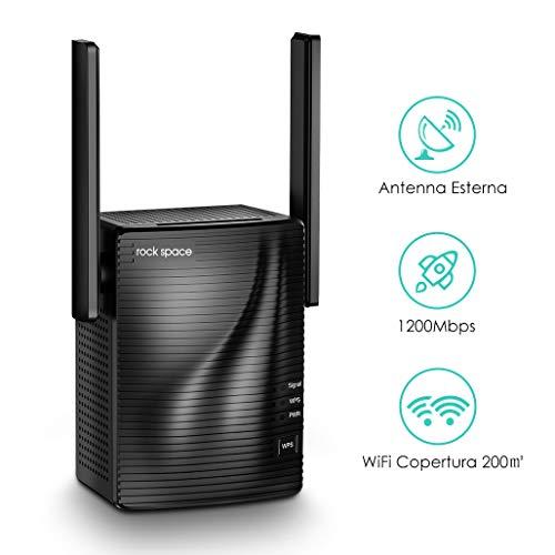rock space WiFi Ripetitore - Repeater WiFi AC1200 Dual Band 5G&2.4G, Estensione WiFi Access Point/Ethernet, Amplificatore Wifi adatto Router Fibra e ADSL, Wifi Extender Range Segnale Copertura a 200 ㎡