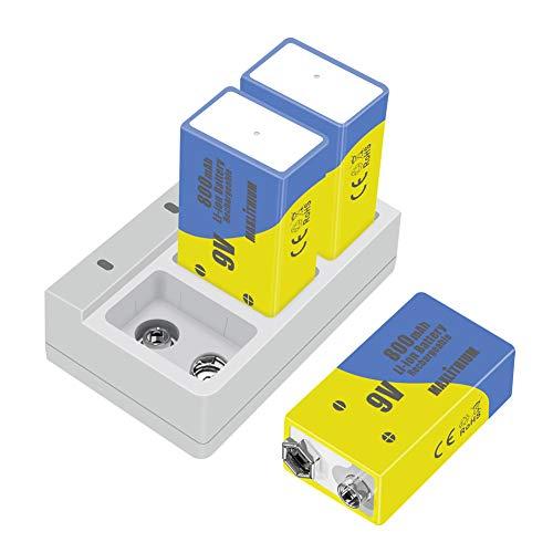 9V Baterías Recargables de Iones de Litio de Capacidad 800mAh (3 baterías con Cargador) Maxlithium