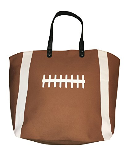 XL Brown Football Canvas Tote Bag by BallPark Leather