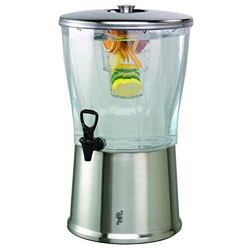 Service Ideas CBDRT5SS Beverage Dispenser, Round, 5 Gallon, Stainless Steel w/Infuser Tube, Silver