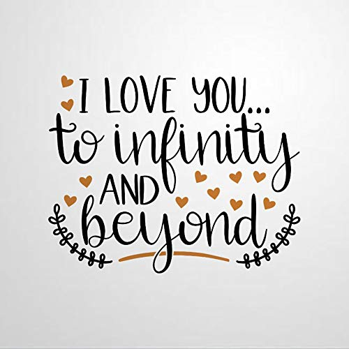 I Love You to Infinity and Beyond Vinyl Wall Decal, Inspirational Quote Inspirational Quotes Stickers Motivational Word Wall Art Sticker Vinyl Wall Mural Home Decor for Kids Room Bedroom Living Room
