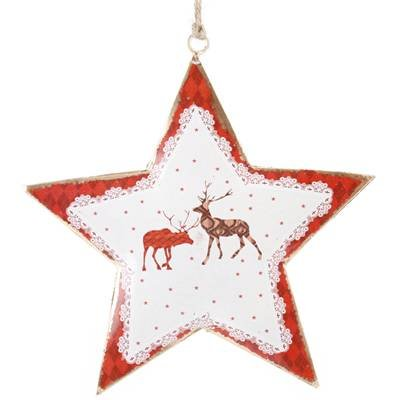 Carousel Home Reindeer Metal Star With Twine Hanger ~ Hanging Christmas Tree Decoration