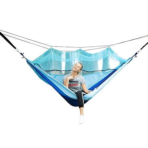 Teng Peng Hängematte - Einzelne und doppelte robuste Camping-Hängematte, leichter Tragegurt, Baumaufhängeset, Anti-Rollover, Schlafsessel für Erwachsene, Moskitonetz-Design, moderne Fallschirm-Nylon-H