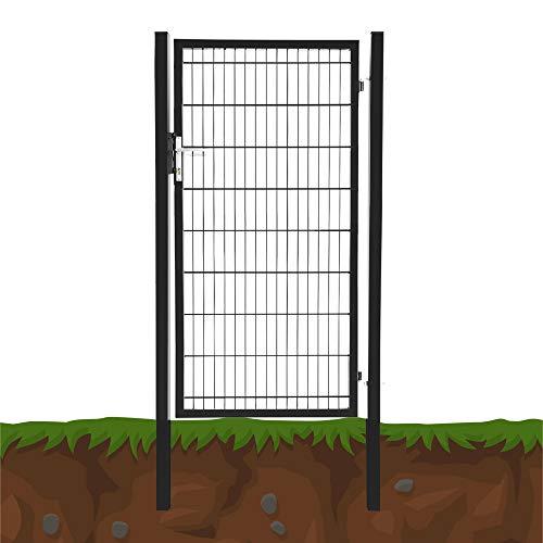 Gartentür Grün Anthrazit Gartentor Zauntür Metall Hoftür Gartenpforte Gartenzaun Farbe: Anthrazit (1 x 1.8 m)