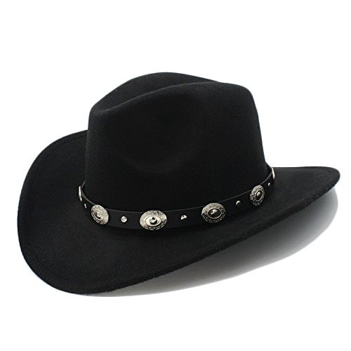 Best Choise Gorra de Jazz para Hombre Western Cowboy Hat Lana de Mujer de ala Ancha Cinturón Punk Cowgirl Church Caps para Damas/Caballeros Hermoso (Color : 1, Size : 57-58cm)