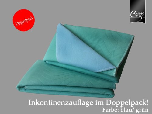 CA332/S Doppelpack Inkontinenzunterlage, Inkontinenzauflage, waschbar, kochfest Farbe grün/blau 1.Wahl Größe ca. 75x90cm, Inkontinenz, Pflege, Matratzenschutz