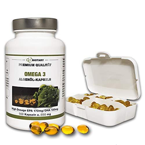 BIOTARY Omega 3 Algenöl 140 Softgel Kapseln, inklusive Pillenbox, hochdosiert, laborgeprüft, Mit EPA + DHA + Vitamin E, hochdosiert, hohe Bioverfügbarkeit, Premiumqualität