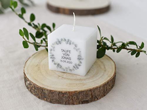 3 STÜCK Gastgeschenk -Geschenke für Gäste - Dankesagung - zur Kommunion, Konfirmation, Firmung, Taufe KERZE Personalisiert - Eukalyptus Leaves