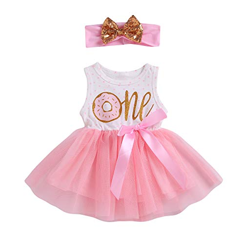 2Pcs Baby Girls Tutu Dress 1st Birthday Long Sleeve Stripe Donut Romper Top Lace Skirt with Headband Outfit Clothes (Pink # Donut, 12-18 Months)