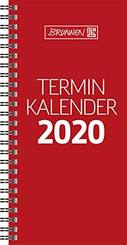BRUNNEN 1078001 Tischkalender/Vormerkbuch Modell 780 (2 Seiten = 1 Woche, 100 x 207 mm, Karton-Umschlag, Kalendarium 2020, Wire-O-Bindung) rot