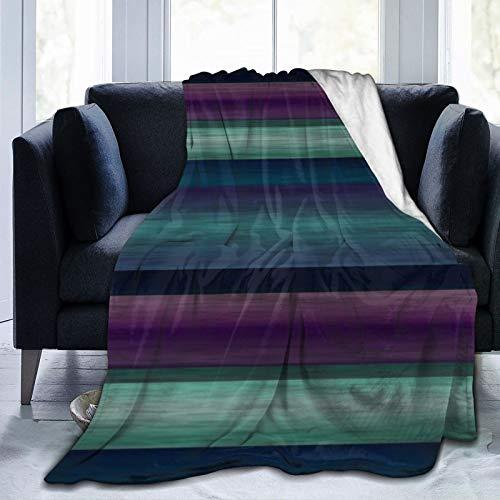 Bernice Winifred Hip Purple Teal Blue Green Black Stripes Pattern Ultra-Soft Micro Fleece Blanket Hecho de Franela Anti-Pilling, más cómoda y cálida.60x50