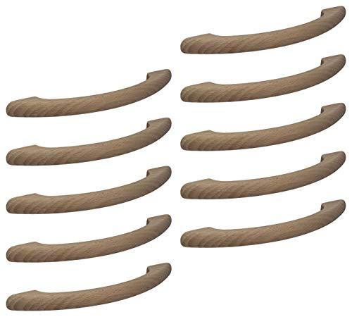 Gedotec Moderner Schubladengriff 128 mm Möbelgriff Holz-Griff Bogengriff Küche aus Buchenholz | Bohrabstand 128 mm | Länge 170 mm | Buche natur | 10 Stück - Design Schrankgriff mit M4 Gewindeschrauben