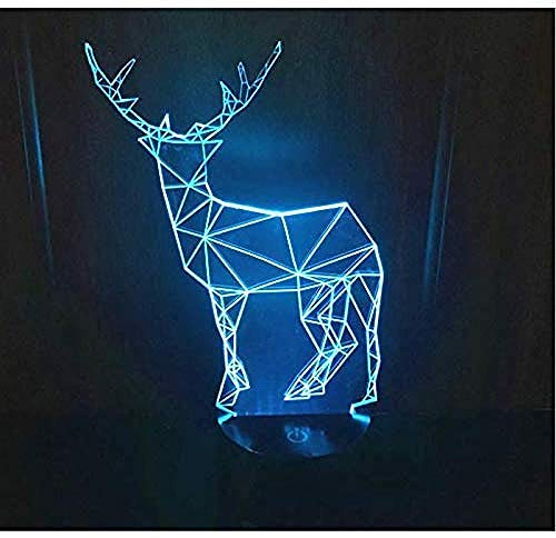 3D Led Night Light Sika Deer Come with 7 Colors Light for Home Decoration Lamp Amazing Visualization Optical Illusion