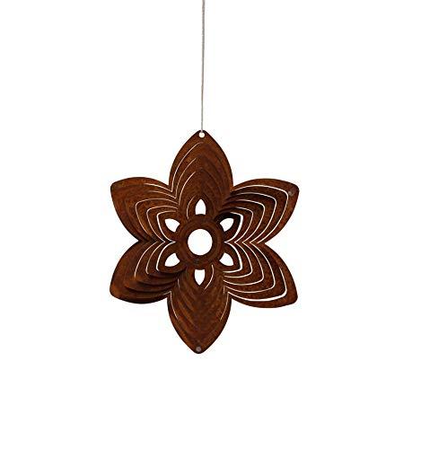 Dekostüberl Rostalgie Edelrost Windspiel Spirale Blüte eckig D22 cm Gartendekoration Blumen Hänger Geschenk