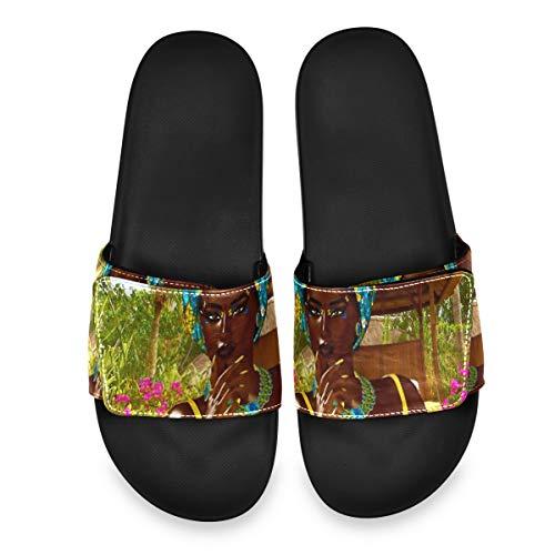 DUKAI Sandali da Uomo con Scivolo Regolabile Atletico con Velcro Comfort Antiscivolo su Pantofole Sportive, Bella Donna Africana Orgogliosa Sandali Colorati per Uomo