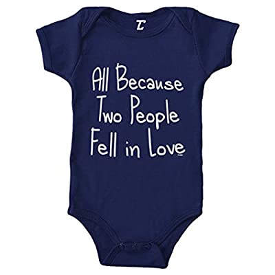 All Because Two People Fell in Love Bodysuit (Navy Blue, Newborn)