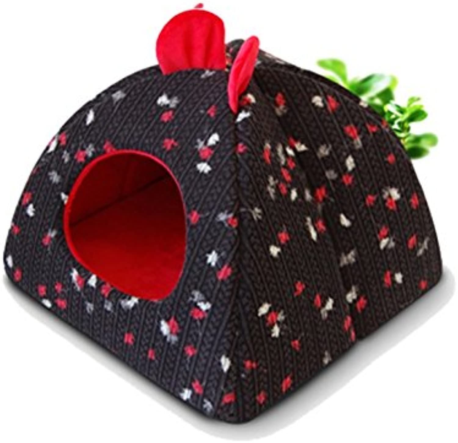 MAL Kennel cat litter dog house cat house pet cute tent yurt kennel Teddy bluee Cat perspective (color  black) (Size   S)