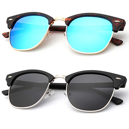 Polarized Sunglasses for Men and Women Semi-Rimless Frame Driving Sun glasses 100% UV Blocking
