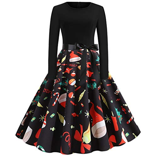 PPangUDing Weihnachtenkleid Damen 1950s Vintage Langarm 3D Bedruckter Bowknot Patchwork Hepburn Christmas Partykleid Abendkleid Elegant Komfort Rockabilly Minikleid Kleidung (M,rot)