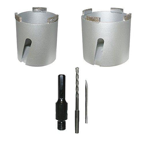 Diamant-blikverzinker, universele set 68 + 82 mm + 1 zeskanthouder incl. boor blikverzinkboor boor dozenboor stopcontactboor - BoDi-TOOLS