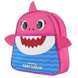 Zainetto Asilo Bambino Bambina Baby Shark - Zaino Bimbo Bimba Squaletto Giallo Blu Rosa – Cartella Scuola Materna Squalo con Pinne 2/5 anni - 29x27x10 cm (Rosa)