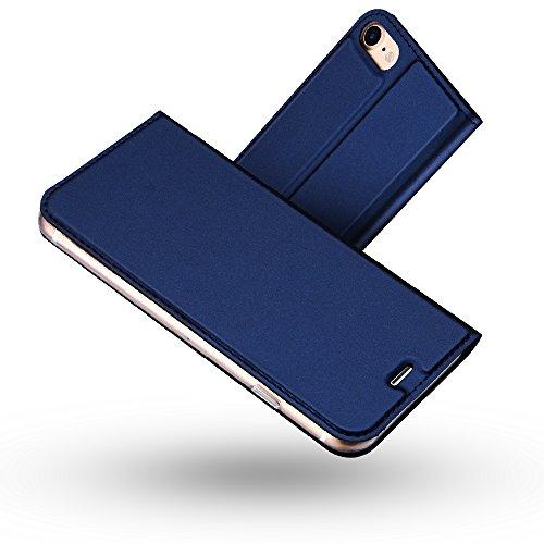 Radoo Funda iPhone 8,Funda iPhone 7, Slim Case de Estilo Billetera Carcasa Libro de Cuero,PU Leather con TPU Silicona Case Interna Suave [Cierre Magnético] para iPhone iPhone 7 / iPhone 8(Azul)