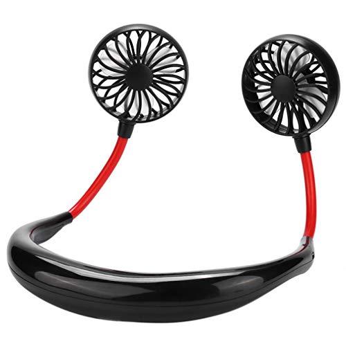 Mini Ventilador de Aire portátil con Banda para el Cuello pequeña con Ventilador Dual USB Recargable Ventilador Enfriador Perezoso (Negro)