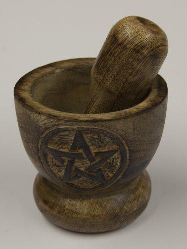 Alterras - Mörser: Holz Pentagramm
