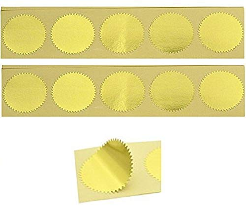 UNIQOOO 100pcs Gold Embossed Foil Blank Certificate Self-Adhesive Sealing Stickers - Perfect for Invitations, Certification, Graduation, Notary Seals, Corporate Seals, and Personalized Monogram Emboss