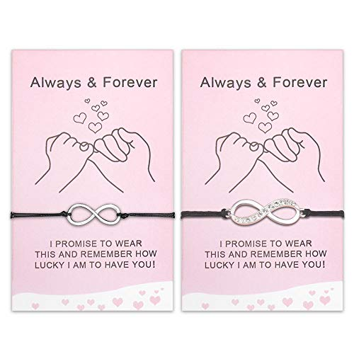 SUNSH 2Pcs Pinky Promise Lucky Bracelets for Women Couple Girls Teens Mother daughter with Wish Card Adjustable Infinity Matching Friendship Bracelet Jewelry Brithday Gift