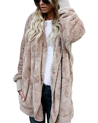 MISSMAO Damen Teddy-Fleece Mantel Kuscheliger Langer Fleecemantel Kapuzenpullover mit Kapuze Khaki M