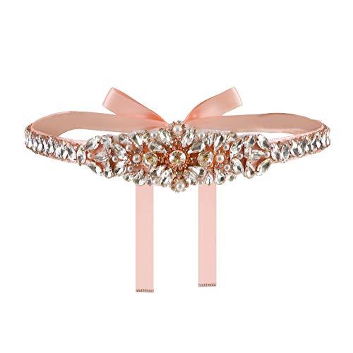 Yanstar Blush Pink Thin Full Length Rose Gold Rhinestone Wedding Bridal Belts and Sash Clear Crystal Belt Blush Ribbon For Wedding Bridesmaid Prom Gowns