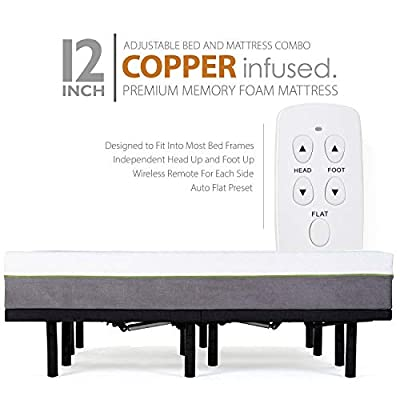 Blissful Nights Adjustable Bed Frame with 12 Inch Queen Copper Infused Cool Memory Foam Mattress Medium Firm Feel CertiPUR-US Certified Adjustable Bed Fame Set Includes The Mattress