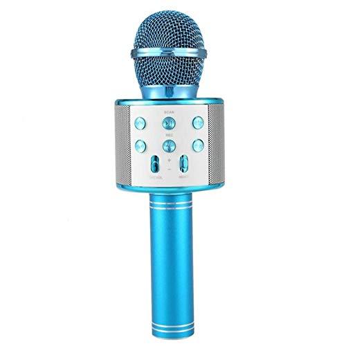 Regali Capodanno/natale/Pasqua/Ognissanti,Microfono Senza Fili,Microfono Wireless Karaoke Portatile Bluetooth, Karaoke Portatile Bluetooth Compatibile con PC/iPad / iPhone/Smartphone blu