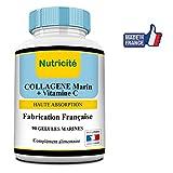 Collagene marin + Vitamine C de Nutricite - 90 gélules - 600mg – Qualité française au juste prix –Collagene anti age naturel pour un visage et une peau plus éclatante