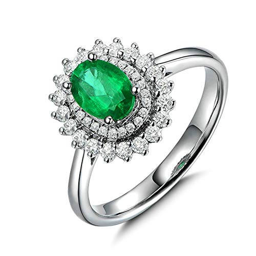 Bishilin Eheringe 18 Karat Weißgold Blume Halo mit Oval Smaragd 1.15ct Verlobungsringe Diamant 0.33ct Hochzeit Ring für Damen Große 49 (15.6)
