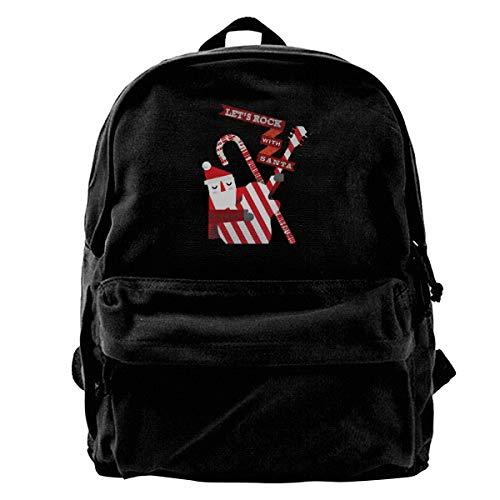 Let's Rock Christmas with Santa Vintage Unisex Casual Canvas Backpack Laptop Bag/Business Backpacks/School Backpack/Travel Backpack